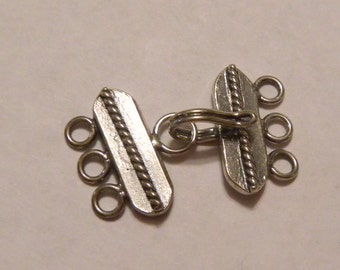 Sterling Silver 3 Strand Hook and Eye Clasp