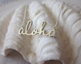 Script Aloha Necklace - Silver