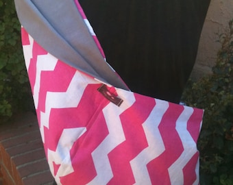 Baby Sling  Baby Carrier - Hot Pink Chevron Gray Lining - Second Item Ships Free