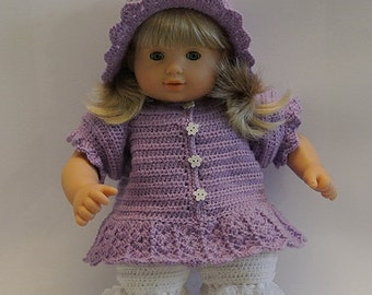 """Instant Download - PDF Crochet Pattern 2 - 15 """" Bitty Baby / 15 """" Bitty Twins or similar dolls. Dress, hat and shorts"""