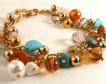 Gold Charm Bracelet, Turquoise Leaf Dangles, Earthy Copper Pearl Drop Bracelet, White Chip Bracelet Dangles, Gold Bead Charm Bracelet (2053)