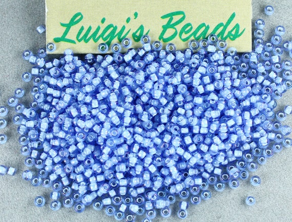 11/0 Round Toho Glass Seed Beads #933- Lt Sapphire/White Lined 15g - Use coupon code LUIGIS10 for 10% off