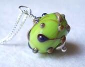 Raku Twigs Glass Necklace handmade artistan lampwork bead sterling silver green charm pendant on chain lime apple romantic nature jewellery