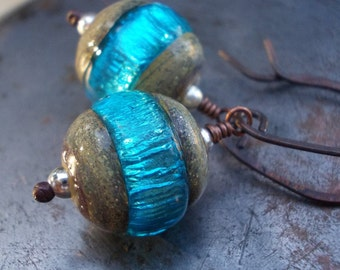 Boulder Opal glass and copper earrings, blue handmade artist lampwork bead sterling silver hand forged black oxidized copper wires drops
