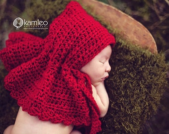 Instant Download, Red Riding Hood Crochet Pattern, Newborn Size