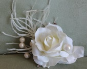 Bridal Hair Wedding Hair Ivory Rose Hair Clip Fascinator with Pearls n Feathers