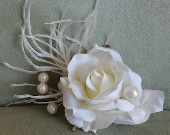 Bridal Hair Wedding Hair Ivory Rose Hair Clip Fascinator with Pearls n Feathers