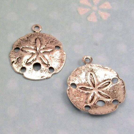 Sand Dollar Charm, Antique Silver, 4 Pc. AP70