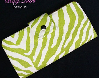 Handmade Long Wallet BiFold Clutch-Zebra--Green-Brown Canvas-Animal print