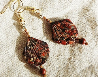 SALE, Red Poppy Jasper & Copper Earrings