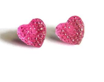 Pink Heart Earrings, Ballet Pink Crystal Heart Studs, Resin Heart Stud Earrings, Pastel Earrings, Fairy Kei