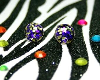 Purple, Gold Stud Earrings, Round Resin Button Studs, Minimalist Glitter Jewelry