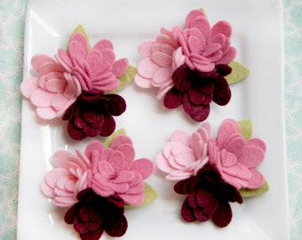 Wool Felt Flower Trio with or without leaves Pinks 4 total
