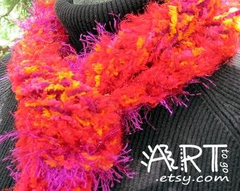 Gypsy Boho Dancing Flames  Knit Scarf