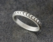 Chevron Wedding Band in Sterling Silver, Triangle Pattern in Recycled Tarnish Resistant Silver