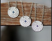 Sapphire Blue Spinel Necklace in Recycled Sterling Silver, Snowflake Party Necklace