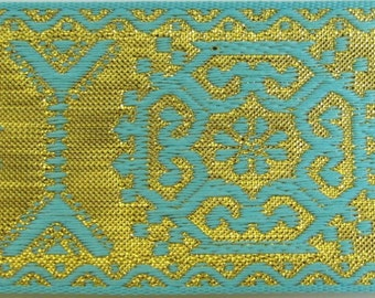 3 yards GEORGIAN SQUARES Jacquard trim in turquoise on gold. 1 1/2 inch wide. 228(2)-K Brocade trim
