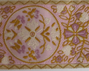 2 yards MARIE ANTOINETTE Jacquard trim in cream, lavender , beige on rose. 1 1/2 inch wide. 319-G~ 2