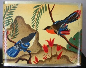 Vintage Perfume or Candy Box with Birds Jaquin Paris
