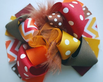 boutique MINI MOD THANKSGIVING chevron hair bow clip