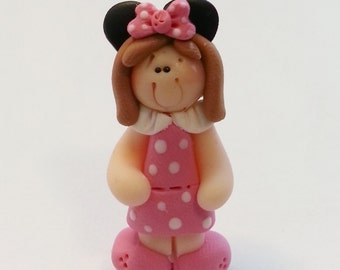 Pink Minnie Mouse Girl Polymer Clay Charm Bead, Scrapbooking, Bow Center, Pendant, Cupcake topper, Magnet, Ring