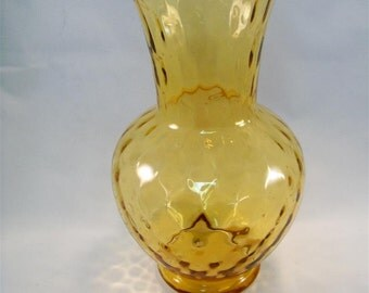Vintage Blown Italian Optic Glass Amber Gold Color Quilted Vase MCM