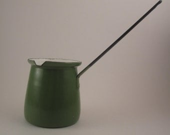 Vintage Enamel Turkish Coffee Pot / Butter Warmer Retro Green