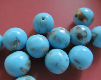 Vintage Glass Beads (8) Handmade Aqua & Copper Beads