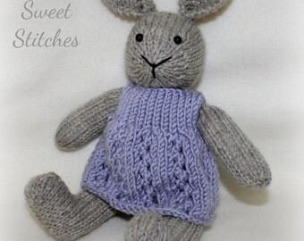 Carrie, a handknit wool rabbit