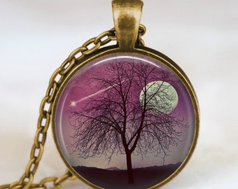Moon and tree necklace , shooting star necklace, shooting star wish  pendant, tree and moon jewelry