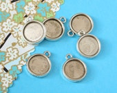 10 pcs antique silver finish round same opposite side bezel base - for 12mm round cabochons. BN380A