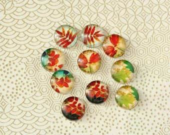 10pcs assorted red leaf leaves round clear glass dome cabochons / Wooden earring stud  12mm (12-0171)