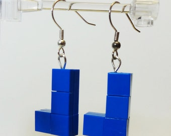 Custom Blue 8 Bit Game Piece Earrings