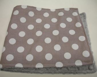 Grey Medium Dots Baby Burp Cloth with Minky