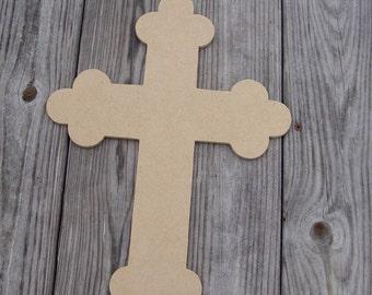 Fancy Cross Unfinished Mosaic Base Craft Shape Mdf Wood