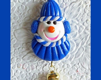 Dark Blue Christmas Snowman Magnet, Fridge magnet, Stocking stuffer, Created with Polymer Clay, Unique Gift, Christmas Decoration, keepsake