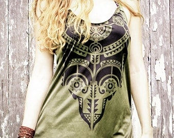 Womens tribal tank top dress, Aztec art, olive green , open back, perfect Valentine gifts.