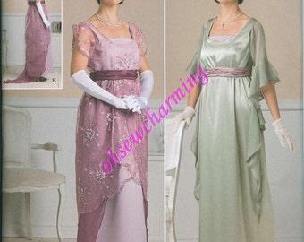 Downtown Abbey Titanic Jump Dress Sewing Pattern Simplicity 1517 UNCUT Sizes 6-8-10-12 Edwardian Gown