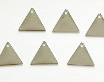 1 Hole Silver Plated Triangle Connector Link Charms Drops 13mm (10) mtl147J