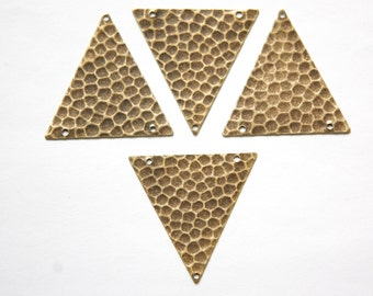 3 Hole Brass Ox Geometric Hammered Triangle Pendant Charm (6) mtl369F