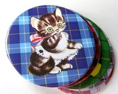Cat Tartan Plaid Coasters