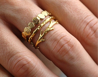 14k Gold Pebble Raw Twig Ring Set|  Stacking Rings Set| 14k Gold Rings