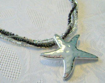 Starfish black and gray multistrand necklace