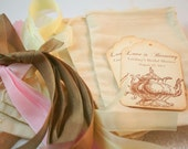 Tea Party Favor Kit DIY Muslin Bags, Teapot Tags, and Ribbon Personalized Bridal Shower Set of 10