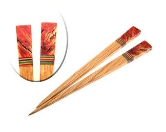 Handmade Wood Hair Stick Set Oak Wood with Red Box Elder Burl Wood