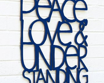 Peace Love & Understanding, Elvis Costello Sign, Wood Quote Sign, Music Lyric Sign, Wood Meme Sign, Wood Sign Decor, Wood Word Sign