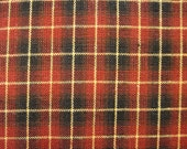 Plaid Material | Cotton Material |  Homespun Material | Quilt Material | Craft Material | Wine And Black Plaid | 1 Yard
