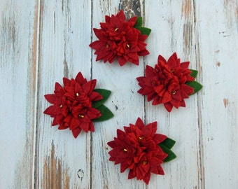 Wool Felt Flowers - Red Poinsettia Trio - 4 sets with leaves - Great For Holiday Packages