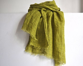 Yellow lightweight linen scarf in check for women men