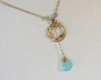 Mermaid Jewelry - Mermaid Necklace - Gold Mermaid Necklace - Gold Jewelry - Everyday Jewelry - Aqua Necklace - Aqua Necklace